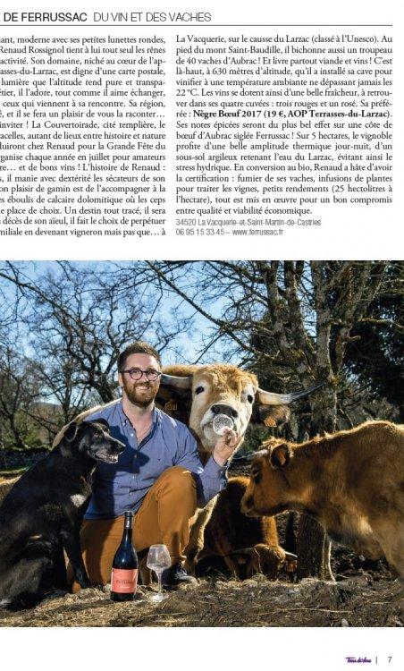 Interview Renaud Rossignol dans Terre de Vins - Dossier spécial Languedoc, Coeur d'Hérault
