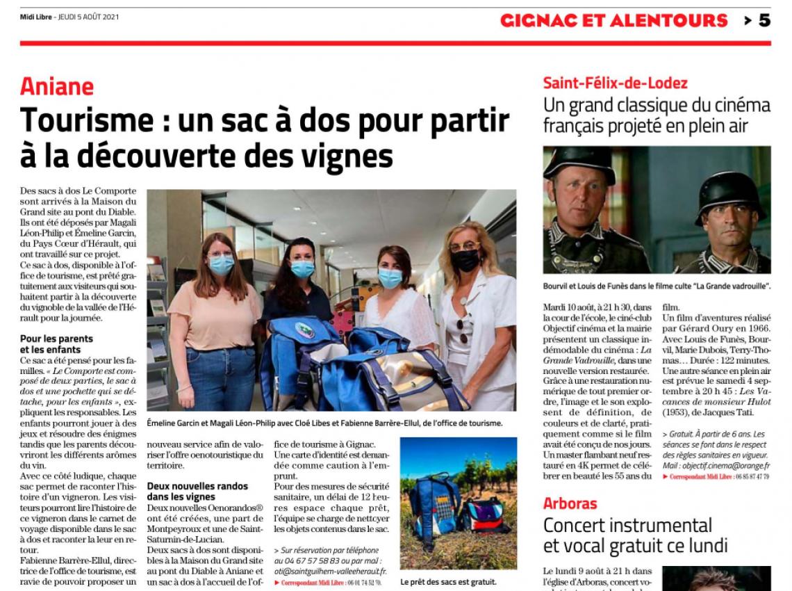 Article du Midi Libre du 5 août 2021