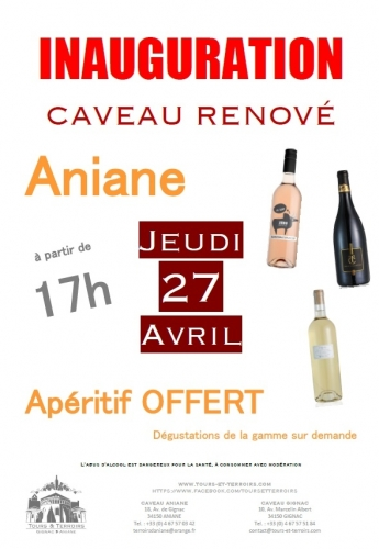 affiche inauguration aniane © tour et terroirs